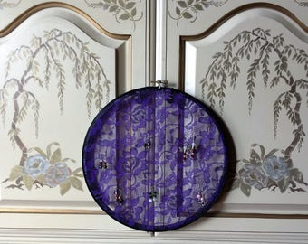 """Purple Lace Earring Hanger Organizer with Black Hand painted 10"""" Hoop Wood Frame"""