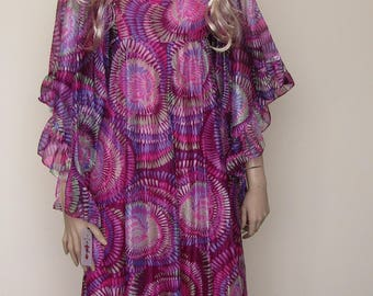 Psychedelic 70's pink maxi dress size - 10/12
