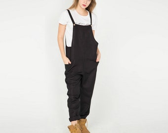 Black Linen Jumpsuit. Women Overall. Linen Overall. Oversized. Black Trousers. Linen Pants. Nordic style.