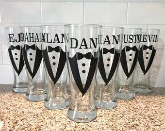 Groomsmen Tuxedo Beer Glasses