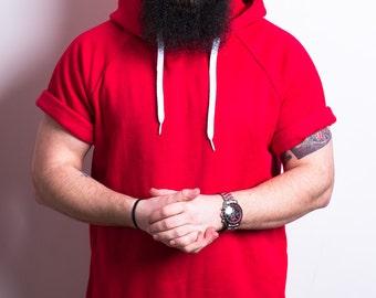 Red Short Sleeve Hoodie Mens