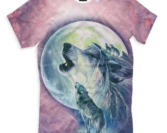 Moon Wolf Full Surface Print T Shirt