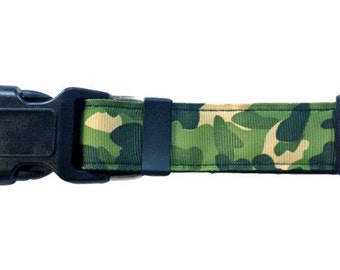 Camo | Dog Collar. Green Camouflage Dog Collar.
