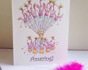 You're simply amazing! Flamingo Greeting Card Pink