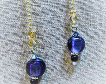 Lighting Pulls with Purple Lampwork Beads