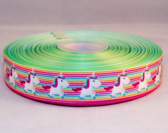 "Rainbow Stripe Unicorn 25mm 1"" Width Grosgrain Ribbon Per Metre"