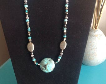Turquoise, hematite, pyrite and Sterling silver necklace