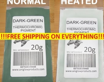 Thermochromic Temperature Activated Pigment - DARK-GREEN. Multiple Colors - Heat Sensitive Color Changing Powder for Paint and More