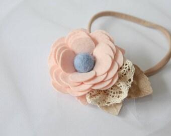 Pastels felt flower baby headband , Girl headband , Spring / Summer headband , Crochet details