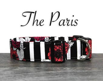 Poppy Dog Collar, Beautiful Floral Collar, Collar for Girl Dog, Feminine Dog Collar, Striped Dog Collar, Classy Pet Collar, Custom Collar