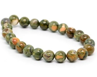"6MM Rainforest Rhyolite Natural Gemstone Round Shape Half Strand Loose Beads 7.5"" (100156h-261)"