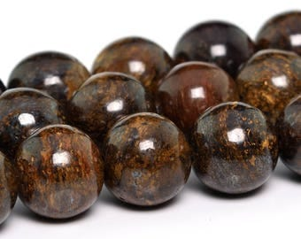 "10MM Toffee Bar Bronzite Natural Gemstone Full Strand Round Loose Beads 15"" (101193-346)"
