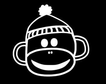 Sock Monkey Boy or Girl Window Decal Auto Sticker