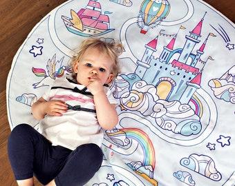BABY PLAY MAT - Magic World || Original Design, Handmade Creation,  kids playmat, playmat Unicorn, infant playmat, boys playmat, round mat