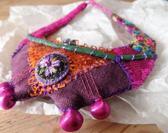 Textile chain, wearable art, fabric necklace