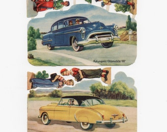 CHEVY Bel Air, 1951, & Futuramic OLDSMOBILE 88, 1950, Embossed, Die-Cut Paper People Attached, Germany, Vintage