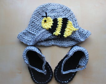 Simply Adorable U Crochet Infant Baby Bumble Bee Sun Hat and Sandal Set