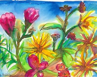 Flower Garden – Original Watercolour and Felt Pen