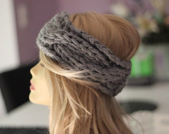 Knit braid headband grey Alpaca mohair knit headband