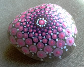 Pink Perfection,  Mandala Stone, intricately hand painted pebble, painted rock from Cornwall,  paperweight, meditation aid.