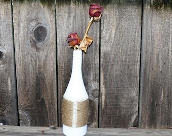 Decorative Wine Bottle-Unique Home Decor-Unique Wedding Centerpiece-Simple Wedding Centerpiece- Unique Wedding Decor- Ranch Wedding Decor