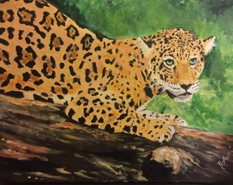 Leopard/ big cat/ panthera acrylics on canvas