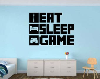 Eat Sleep Gaming Decal, Gamer Wall Decal, Gamer Room, Game Room, Wall Part 23
