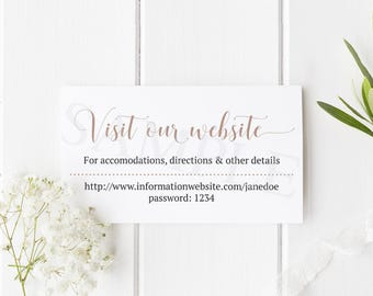 Wedding Details Insert - Printable Simple Wedding Website Cards - Download