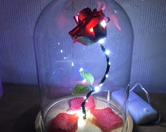 Beauty and the beast handmade enchanted rose