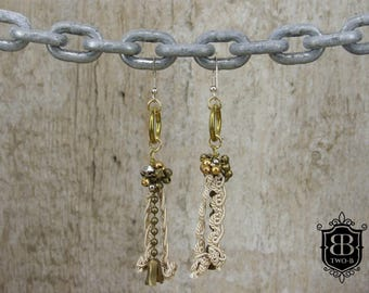 Earrings vintage Upcycling gold