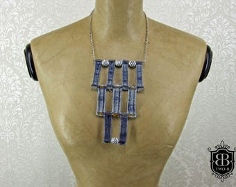 Necklace denim Jeans upcycling beads