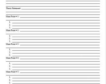 Essay Outline Printable