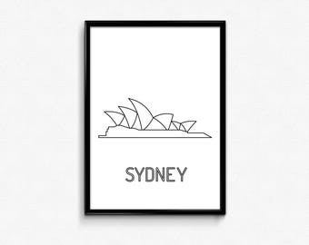 Sydney Opera House, Sydney Opera House print, Sydney Opera House poster, wall art, different sizes - choose between letter and A4 size