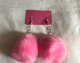 Pink pom pom earrings