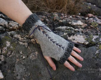 Grey Knitted Lace-Up Wrist Warmers