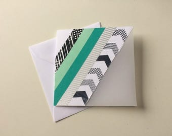 Handmade tough greeting card with diagonal stripes and translucent Panel