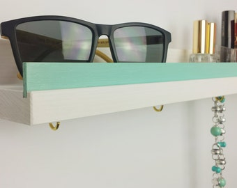 Shelf, white & Mint green, 50cm