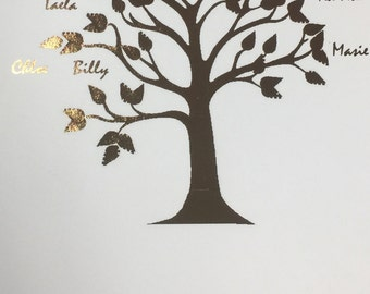 Gold / Rose Gold or SIlver Personalised Family Tree Print