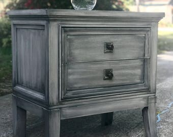SOLD! Example. Custom Gray with Black Wash Modern Nightstand