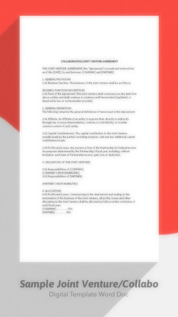 Sample Joint Venture Agreement Collaboration Agreement Joint – Joint Venture Agreements Sample