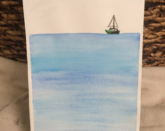 Personalized Sailboat watercolor painting