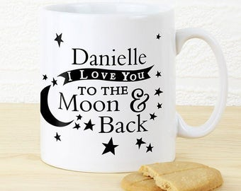 Personalised I Love You To The Moon & Back Mug Gifts Valetines Day Anniversary