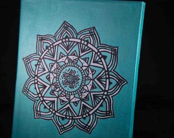 Hand-painted turquoise mandala canvas art