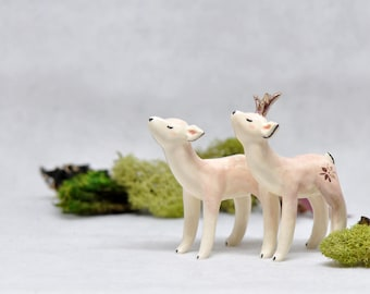White tailed Deer - Female/Male - Gold Accent - Ceramic Figurine