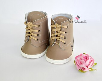 "Combat Boots Doll Shoes  for 18 inch American Girl Dolls Shoes for Dolls Stylish Doll Boots Fits dolls 18"" Beige leather boots"