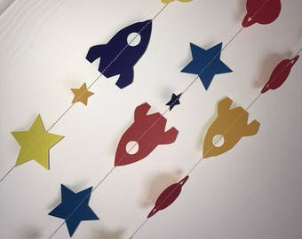 Space theme garlands, rockets, stars and planets