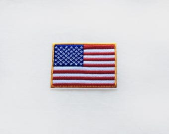 1x American USA flag PATCH  Iron On Embroidered Applique gold frame america symbol white stars red stripes  blue patriotic