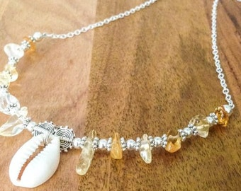 CITRINE + Cowrie Shell Necklace