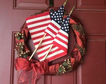 Patriotic Flag Grapevine Wreath