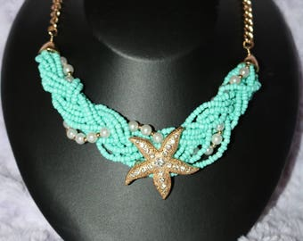 Starfish and Seedbead and perl mix necklace set
